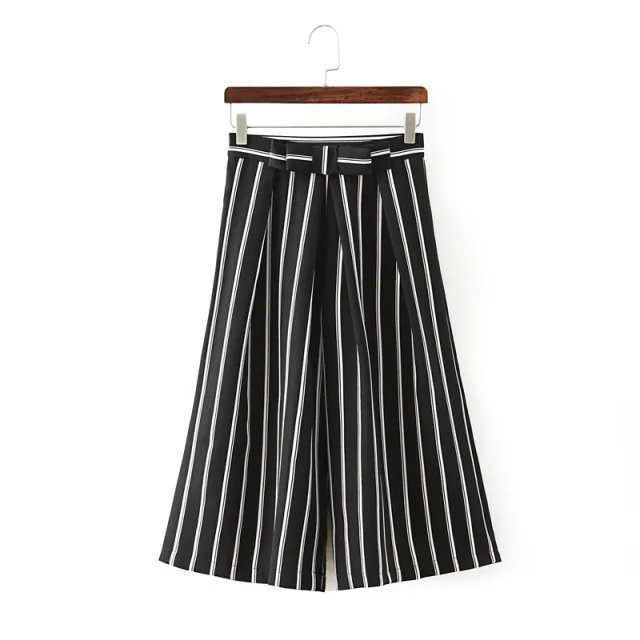 Free shipping 2015 summer new bow white and black vertical striped waist wide leg three quarter women pants zhm(China (Mainland))