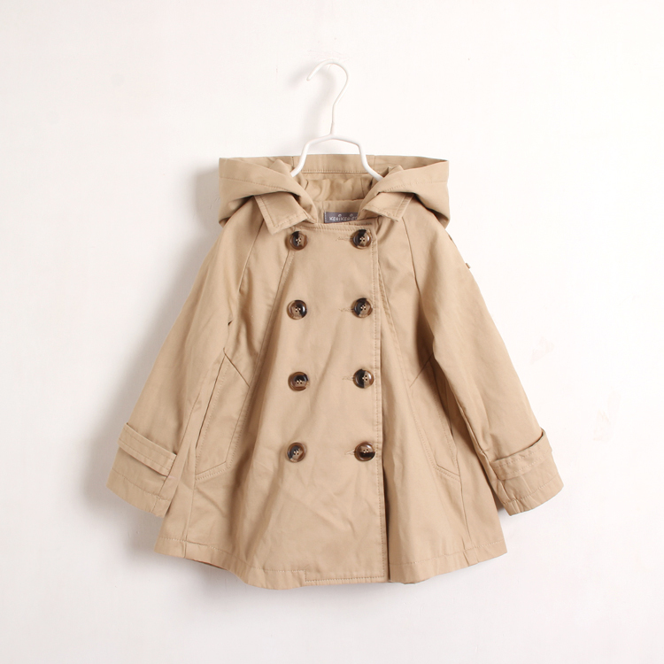 Girls Fashion Outerwear Kids Autumn Long Style Trench Double-breasted Fashion Hooded Coat Clothes Children Clothing 6PCS/LOT<br><br>Aliexpress