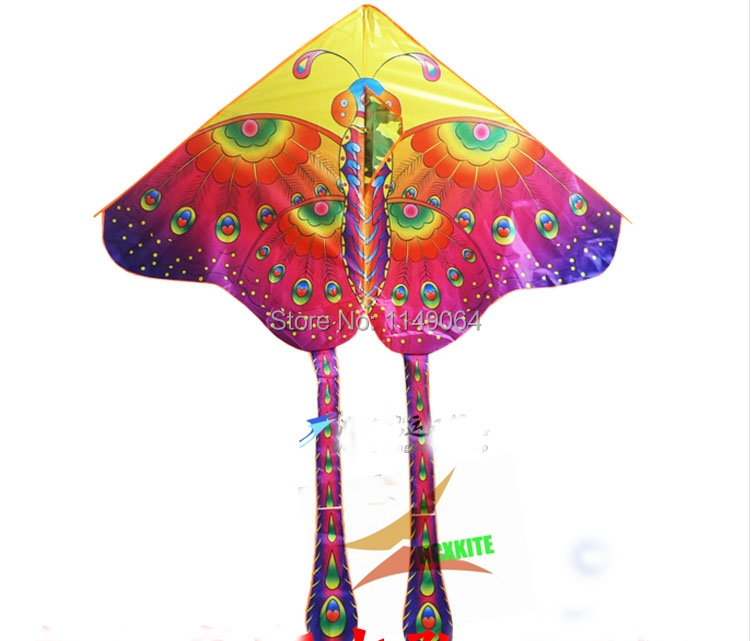 free shipping high quality colorful peacock butterfly kite flying with handle line hcxkite factory outdoor child love cerf(China (Mainland))