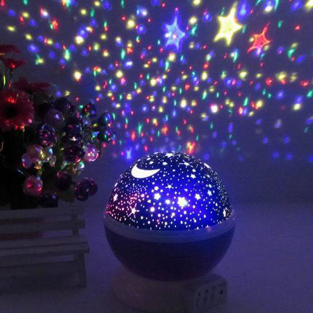 Rotating Color Changing Star Moon Sky Cosmos Night Projector Atmosphere lamp(China (Mainland))