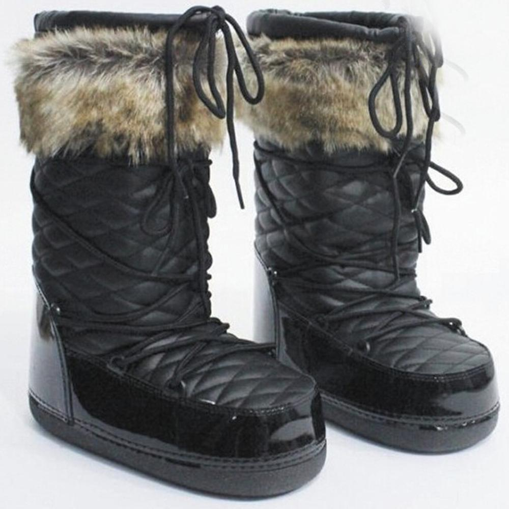 RBOWLOVER 2016 Newest Women Warm Winter Snow Boots White Black Mid-Calf Lace Up Ski Boots Moon Boots(China (Mainland))