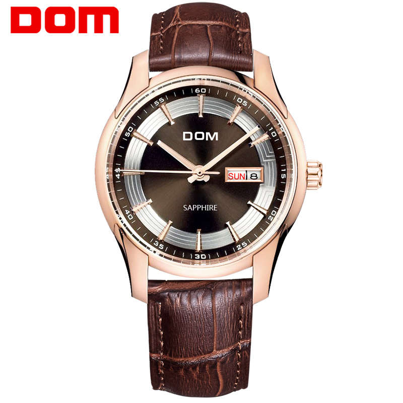 DOM 2016 Men Watches Fashion Personality Quartz Watch Leather Belt vintage Simple Casual Waterproof Wristwatch.(China (Mainland))