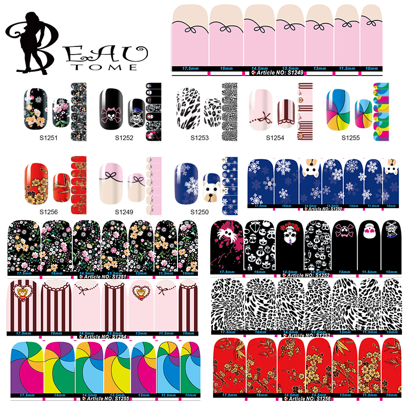 Beautome 1Sheet Full Cover Nail Art Stickers Winter Theme Snow Plum Sock Brand Design For Beauty Gifts Manicure Tools S1249-1256(China (Mainland))