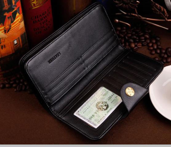 Hot Sale fashion men long wallet quality leather black dark brown card holders clutch purse wallets