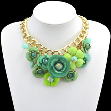 2014 New Design Gold Chain Fashion Accessories Luxury Metal Flower Resin Beads Statement Pendant Necklaces Pendants