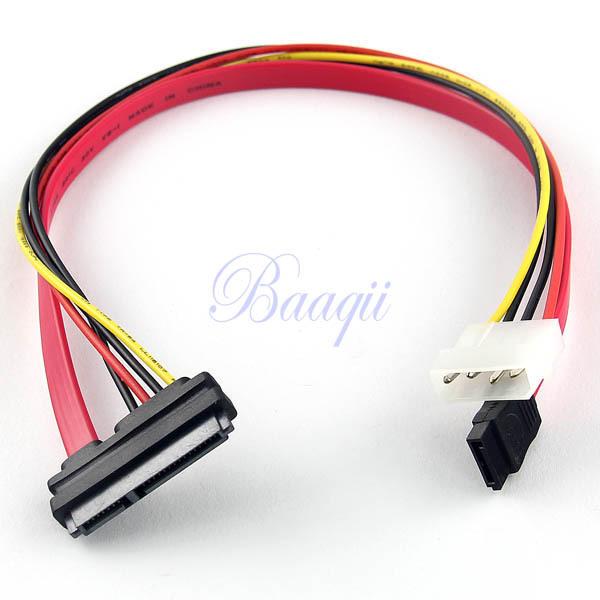 7+15 22Pin Power/Data SATA to 4-Pin IDE Power Molex + 7 pin Sata Port Connector Cable 40cm CB105(China (Mainland))