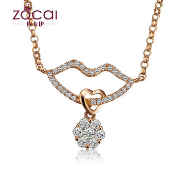 ZOCAI BRANDS LOVE KISS NATURAL 0.5 CT DIAMOND Pendant  PENDANTS SOLID 18K Rose + 925 STERLING SILVER CHAIN Necklace FREE SHPPING