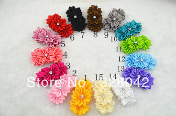 Trail order baby girl triple satin ribbon flowers clip DIY handmade  layered flower alligator clip hair accesories 30pcs/lot