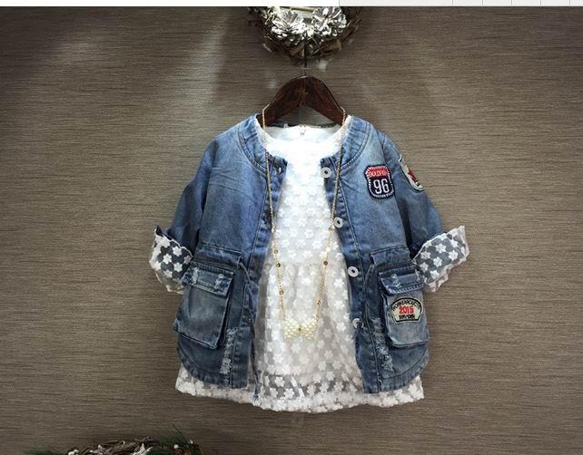 2016 New Girl Denim Coat Blue Leisure Denim Outerwear Children Clothes XL-182T 2-7T<br><br>Aliexpress