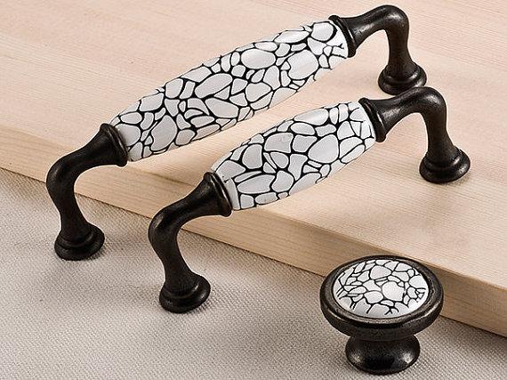 3.75 5 Ceramic Kitchen Cabinet Handle Dresser Knob Drawer Knobs White Black Knob Pull Furniture Hardware 96 128 mm<br><br>Aliexpress