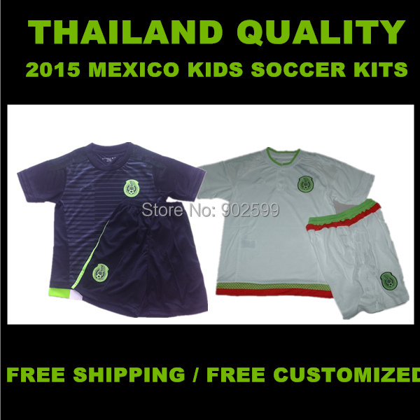 2015 Mexico Kids/Boys Home/Away R.MARQUEZ CHICHARITO O.PERALTA G.DOS SANTOS M.LAYUN C.VELA Thai Quality Children Soccer Uniforms(China (Mainland))