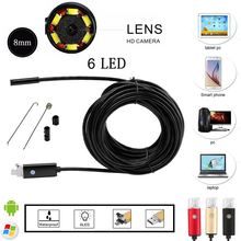 2016 Newest  8mm 6 LED PC Android Endoscope 2.0MP HD 720P USB Borescope Tube Inspection Wire Cameraon Video Cam 6 Adjustable LED(China (Mainland))