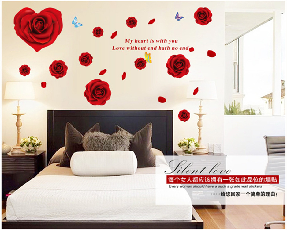 Beau Romantic Roses Wall Stickers Home Decor Waterproof Removable Wall Decals  Bedroom Living Room Warm Background Wallpaper