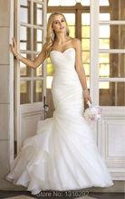 New élégant plissé chérie blanc ivoire robes de mariée Custom Made sirène robe de mariée 2015(China (Mainland))