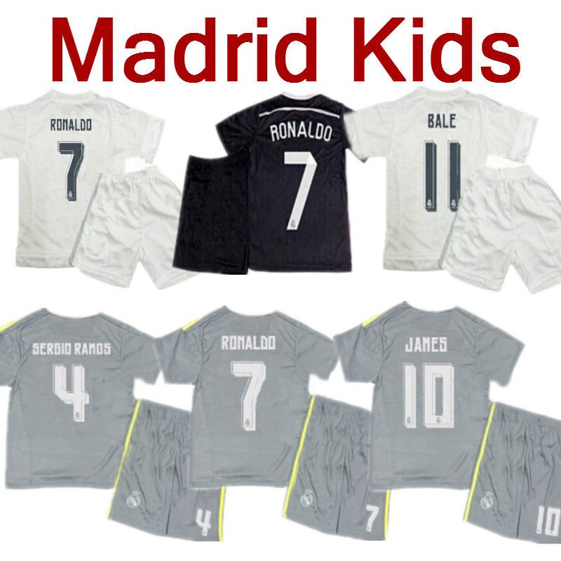 Kids Soccer Jerseys 2016 Real Madrid Kids Spain Espana Ronaldo Children Kits Youth Set Uniform Bale James Boys 15/16 Camisetas(China (Mainland))