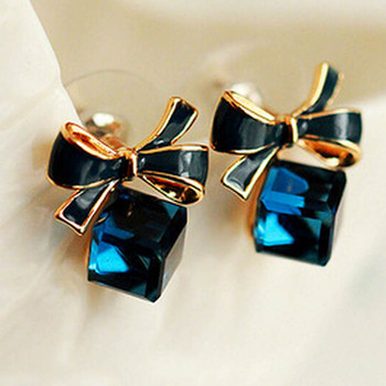 Bowknot Shiny Cube Stud Earrings