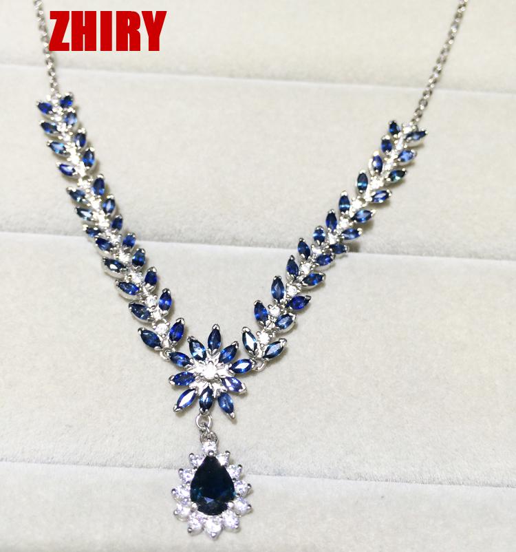 Здесь продается  Real Sapphire necklace 100% natural gemstone Precious Solid 925 sterling silver Dance party women prom noble gems Fine Jewelry  Ювелирные изделия и часы
