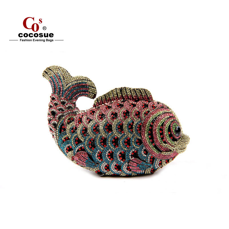 2015 new fashion brand 17 colors animal shape fish crystal cute chain bags women evening CO9215 - Guangzhou cocosue Fashion Co., Ltd. store