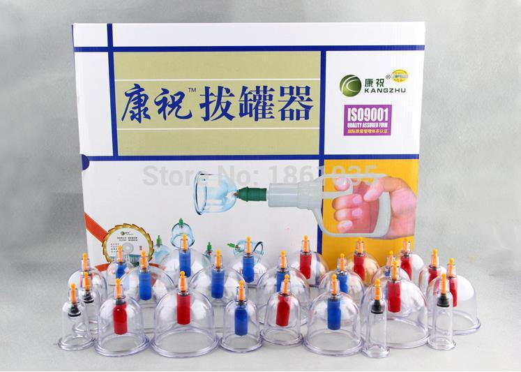 Free shipping 100% Original Medical Kangzhu B1*24 Cups Vacumm Cupping Set Kit for Body Suction & Health Massage Top quality(China (Mainland))