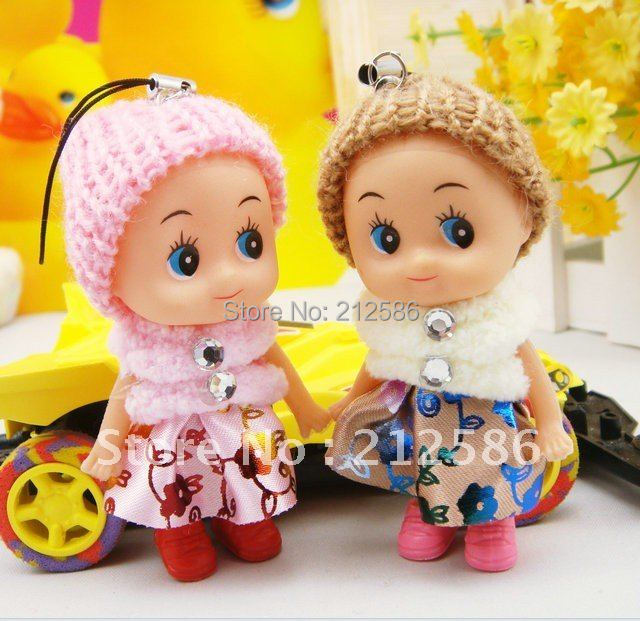 Free shipping 50pcs cheap lovely Cute mini doll for girls as mobile phone charm chain/key chain/ bag charm/pendant/(China (Mainland))