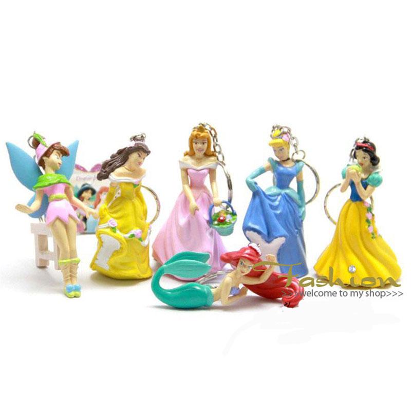 Classic Animation Princess Snow White Ariel Cinderella Merida Resin Action Figures Model Toys Dolls Key Chian Ring 6pcs/se<br><br>Aliexpress