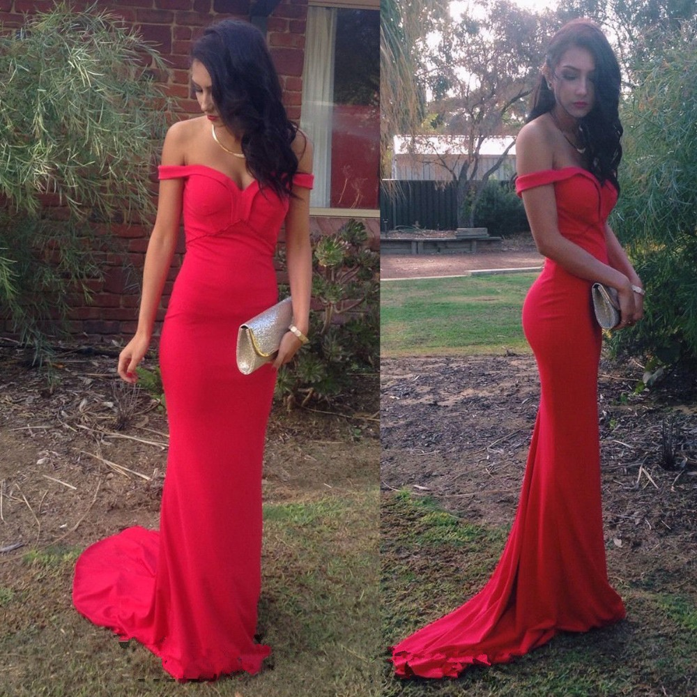 Sexy Long Prom Dress Red Off The Shoulder Mermaid Formal