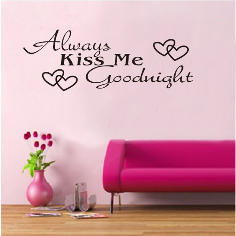 Always Kiss Me Goodnight DIY Removable Art Vinyl Quote Wall Sticker Decal Mural Home Decoration Bedroom Wall Stickers Cuisine(China (Mainland))