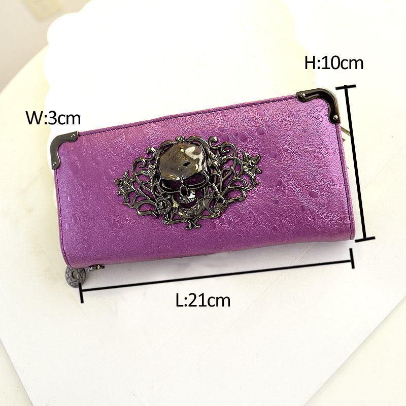 Fashion Women Wallets Skull Pattern Lady Long Clutch Wallet High Quality Purse For Women Carteira Feminina<br><br>Aliexpress