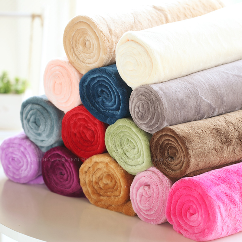 2015 Coral fleece blanket bed small flannel solid color casual baby brand - Leisurely And Cozily store