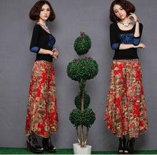 2016 Summer New Folk Style Plus Size Women Linen Cotton Wide Leg Pants Slacks Ladies Summer Skirt Trousers(China (Mainland))