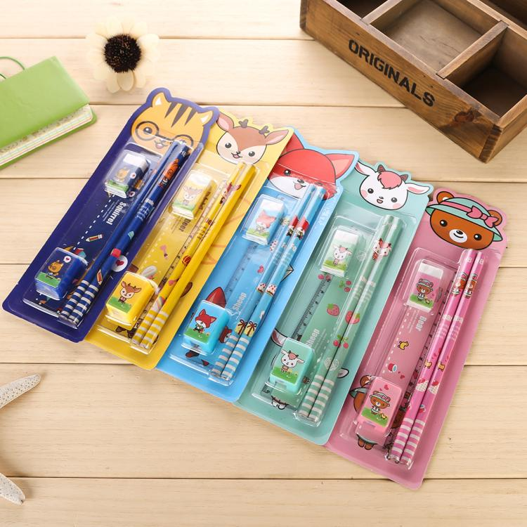 5 sets /lot 2016 New Stationery Set School Supplies pencil rubber ruler sharper Cute Cartoon Kids Stationery Set Gifts 206(China (Mainland))