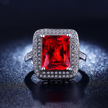 S925 sterling silver Jewelry fashion Bijoux Ruby Red CZ Diamond ring Classic wedding rings For Women high quality FSR2094