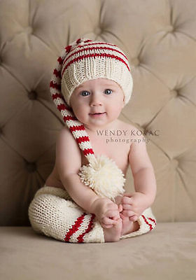 NEWBORN Pants and Elf Hat CHRISTMAS baby girl or boy set for Photography Props#136(China (Mainland))