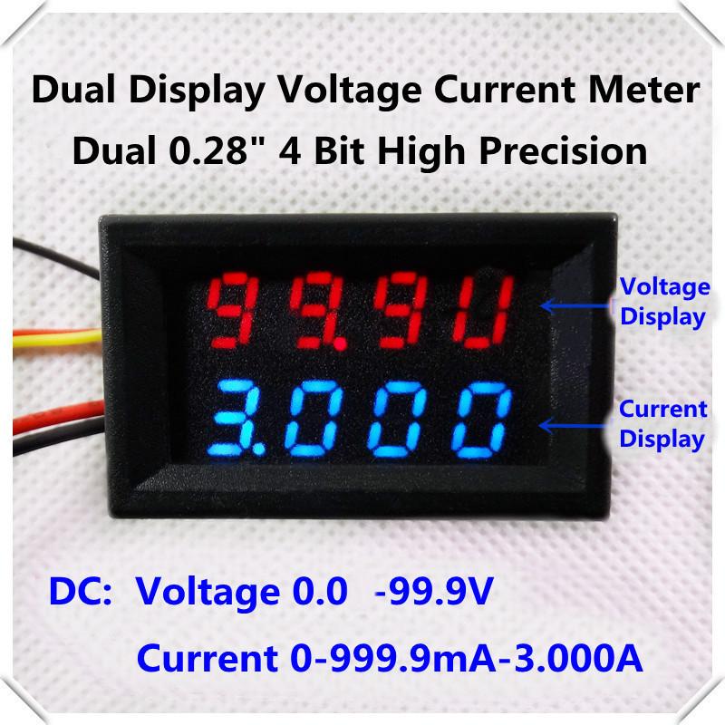 [15pcs/lot] Home automation module DC 0-100V/1A/3A 4 bit dual LED display voltage current meter 0.28 Digital Ammeter Voltmeter(China (Mainland))
