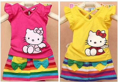 Retail new 2016 summer girls clothing sets Hello Kitty short sleeve T-shirts + rainbow color skirts suits kids clothes(China (Mainland))