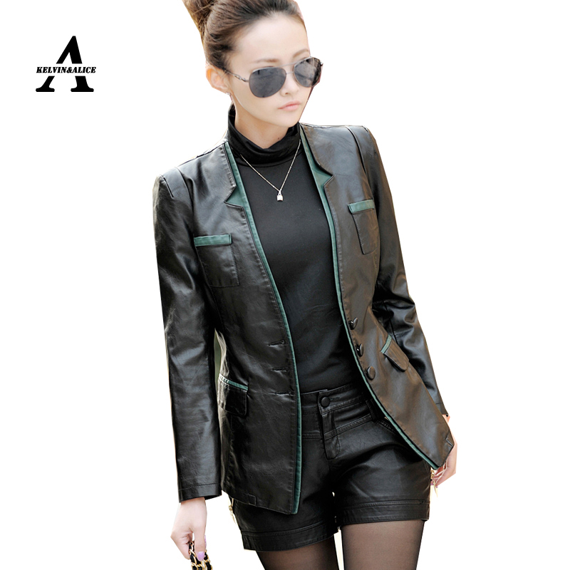Plus Size Leather Jacket Women Jaqueta De Couro 4XL 5XL Suit Leather Jacket Single Breasted Trench Coat KF928