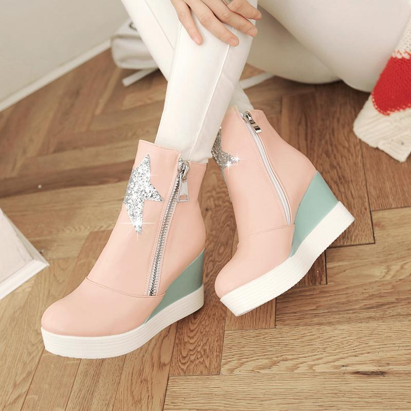 ENMAYER new autumn shoes boots Martin English-style winter snow Wedges fashion wild Sequin Zipper