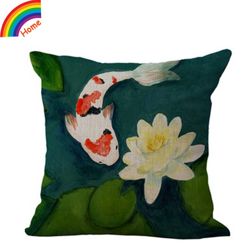 Hand Painted China Style Antique Meticulous Lotus Linen Cotton Decorative Throw Pillow Case Sofa Chair Backrest Cushion Cover(China (Mainland))