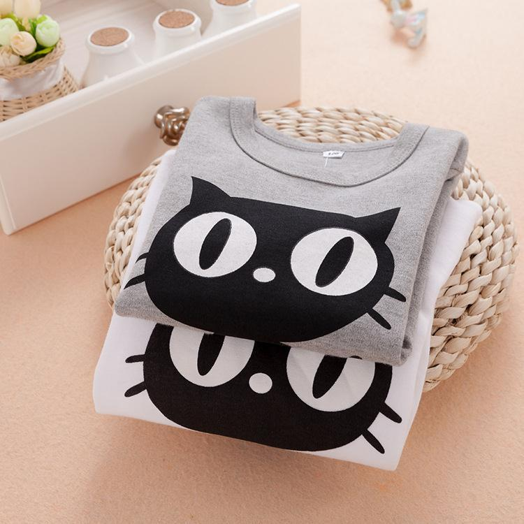 2015 Spring children font b clothing b font set cartoon cats long sleeve t shirt pants