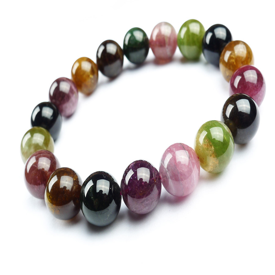 New Arrival 12mm Natural Tourmaline Stone Fashion Strand Bracelet Jewelry Colorful Stretch Round Beads Bracelet Christmas Gift<br><br>Aliexpress