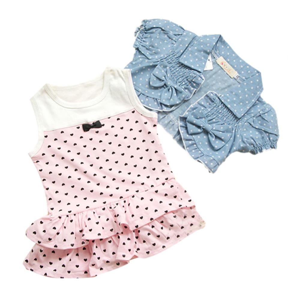 Hot Kids Baby Girls Hearts Dress+Bow Denim Jean JACKET Outfits Costume 2PCS(China (Mainland))