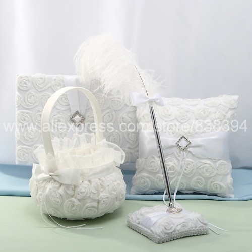 wedding ceremony accessories flower basket white flower guest book pen