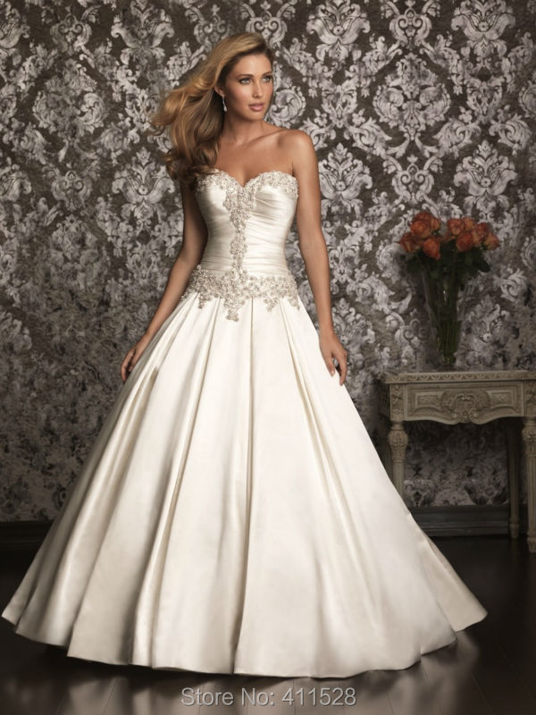 Fashionable beaded crystal sweetheart ball gown satin lace for Satin low back wedding dress