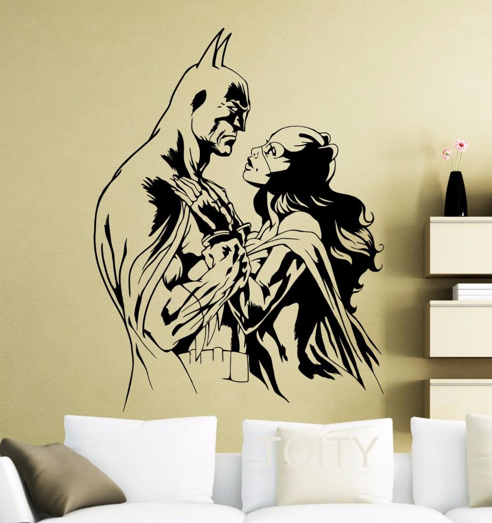 Batman Batgirl Wall Sticker Movie Poster Dark Knight Superhero DC Marvel Comics Vinyl Decal Home Interior Decoration Art Mural(China (Mainland))