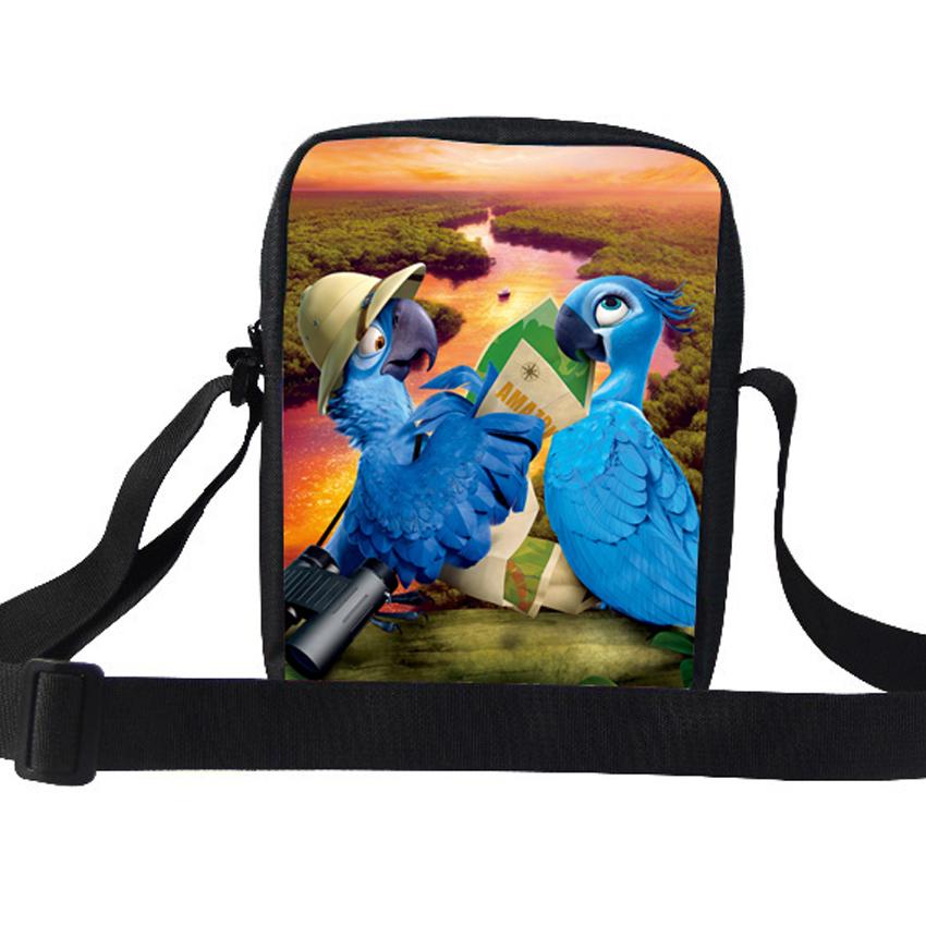 Cute Children Cartoon Messenger Bag RIO Blu and Jewel Scarlet Macaw Shoulder Bag For Kids Boys Girls School Casual Bag Students(China (Mainland))