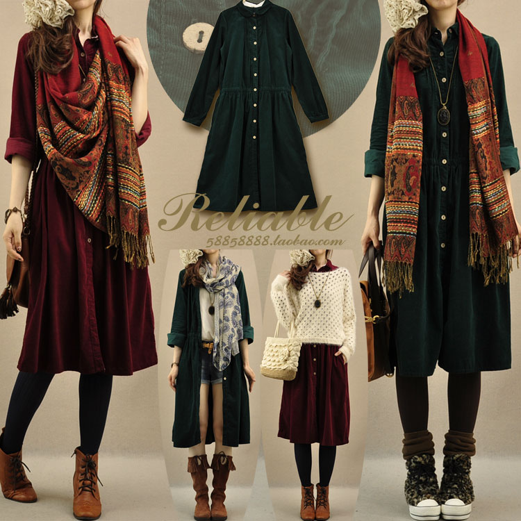 women's autumn clothing turn-down collar loose corduroy long-sleeve dress corduroy solid bohemian style dresses(China (Mainland))