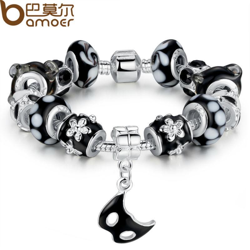 Bamoer Silver Bracelet for Women With Mask Charm Black Lampwork Beads Female Pulseiras Birthday Gift PA1402<br><br>Aliexpress