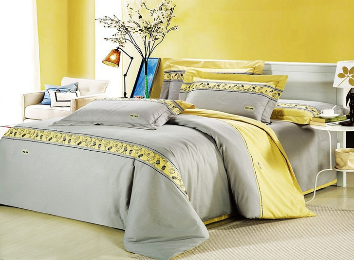 romantic modern island vacation gray and yellow 4pcs hotel bedspreads bedding set queen king. Black Bedroom Furniture Sets. Home Design Ideas