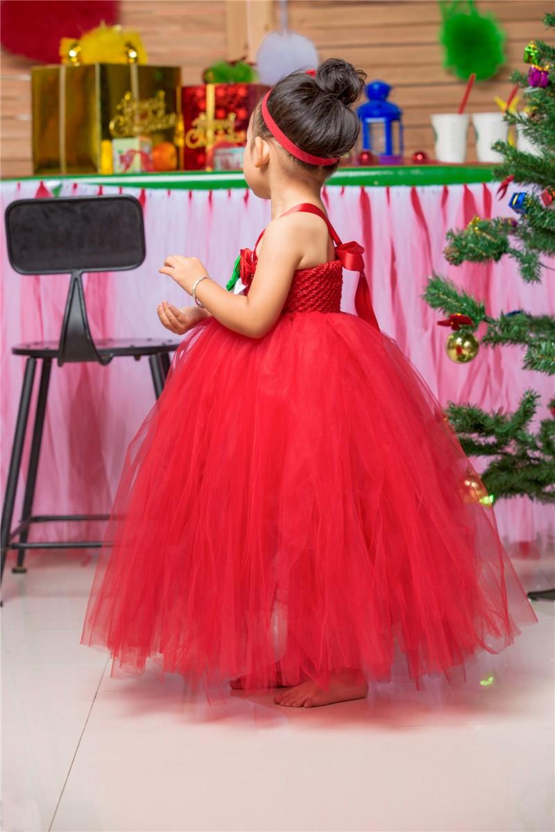 Скидки на Красный Девушки Рождество Платье Костюмы Baby Дети Девушки Цветы Тюль Туту Платье На Новый Год Фестиваль Перформанса Бальное платье