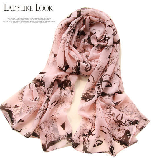 Korean Fashion Pink Long Chiffon Soft Ladies Sexy Scarf Spring Winter Women Girls marilyn monroe Printing Scarves Bandana Shawls(China (Mainland))